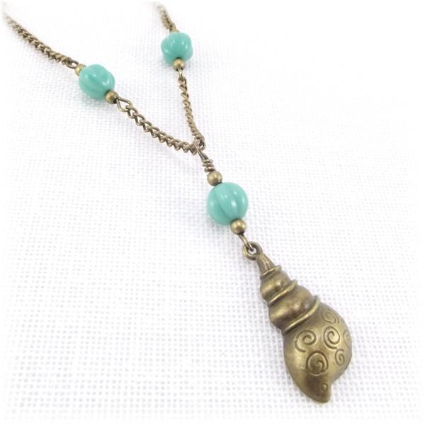 Antique Gold Shell Pendant Necklace