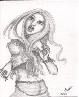 Vampire in Motion, pencil sketch, original