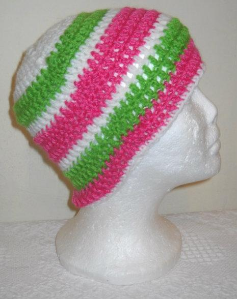 Hanna's Hat - Crocheted Beanie Hat in Pink, Lime, and White