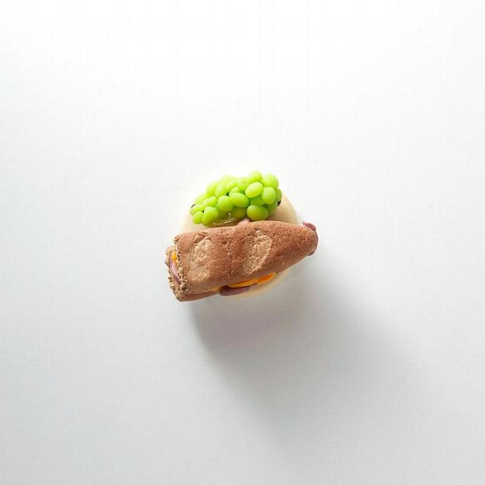Ham and Cheese Sandwich with Grapes Polymer Clay Dollhouse Miniature Food