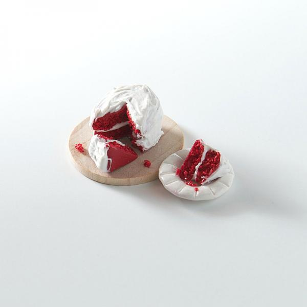 Polymer Clay Miniature Red Velvet Cake and Slice