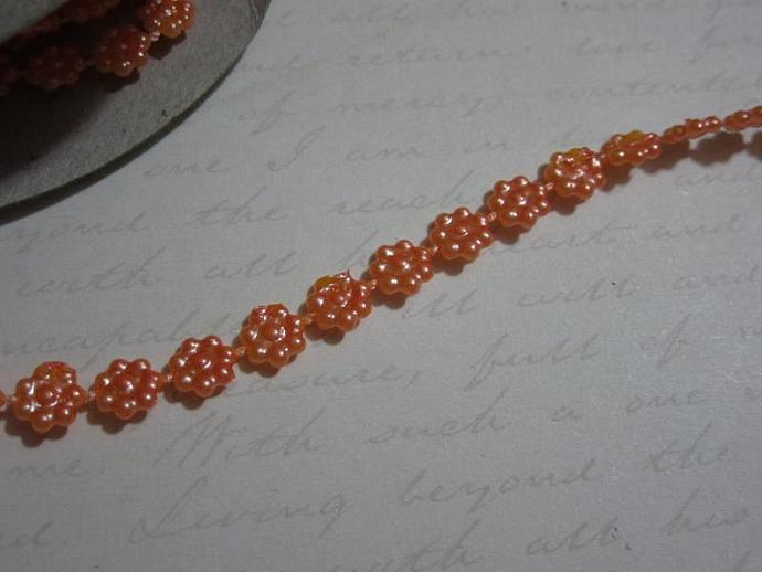 1yd - Mini Orange Daisy Pearl Trim