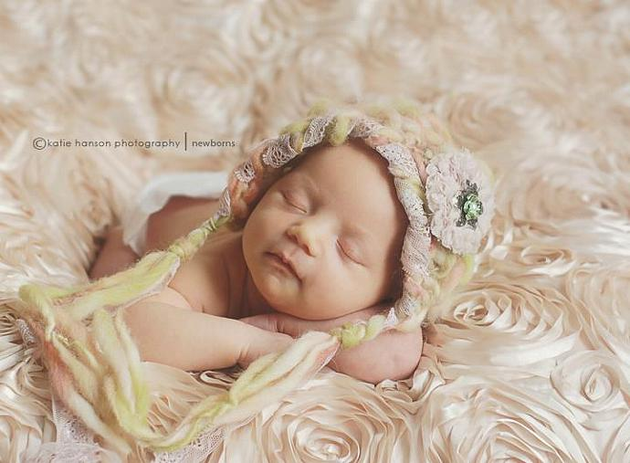 Newborn Woolly  Pixie Bonnet Tegan Collection - Shabby Sage Roses