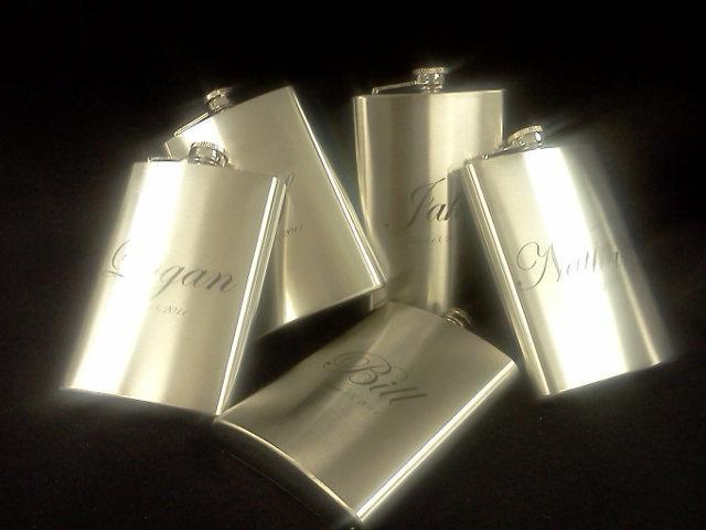 8 Personalized laser engraved Stainless Steel Flask 8oz. create your own- QTY