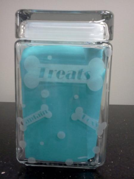 Glass treat jar with custom laser engraving for pets