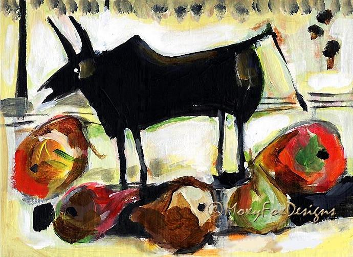 Art --  BLACK BULL with Pears -- Limited Edition -- FREE US Shipping