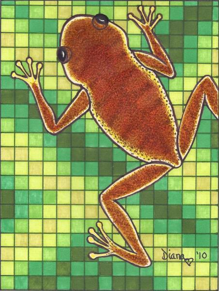 Frog and Pixels-matted print