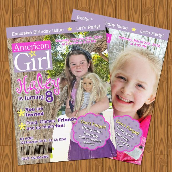 American Girl Doll Magazine Style Birthday – American Girl Doll Party Invitations