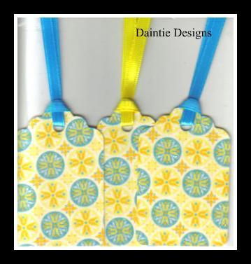 Blue Circles on Yellow Tags Set of 3