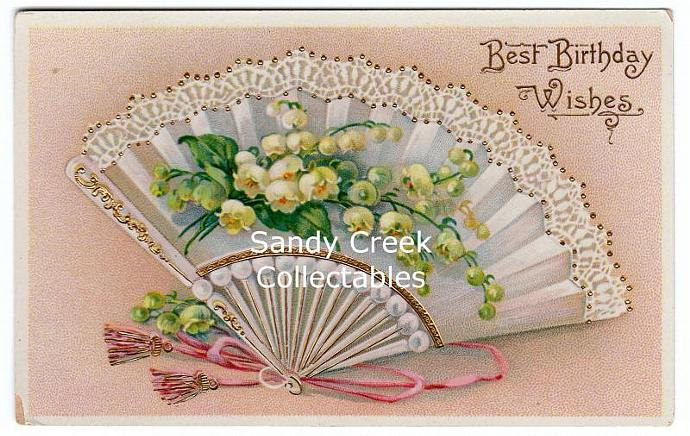 Digital Scan Antique Victorian Birthday Postcard Lacy Fan Lily of the Valley