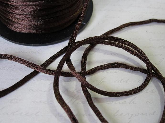 3yds - Seal Brown String Satin Ribbon