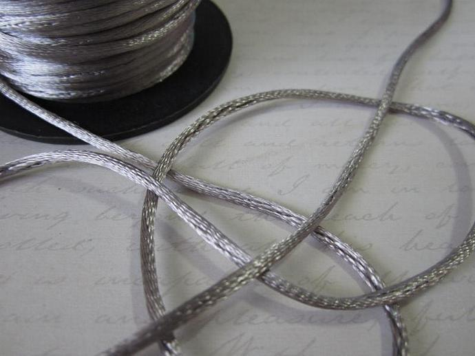 3yds - Dk. Grey String Satin Ribbon
