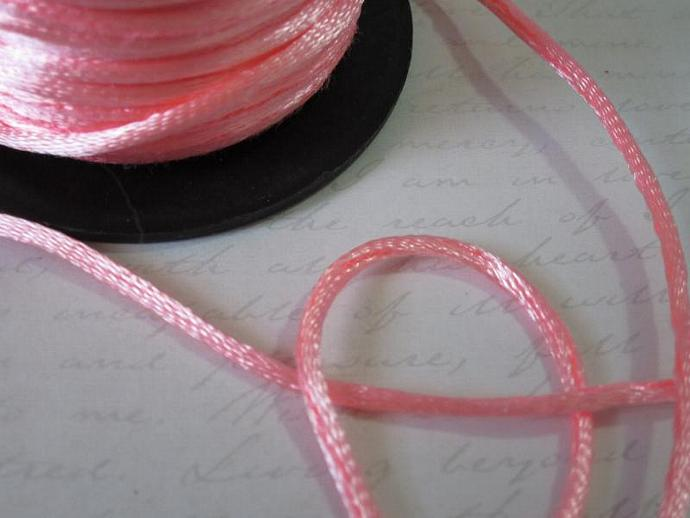 3yds - Carnation Pink String Satin Ribbon