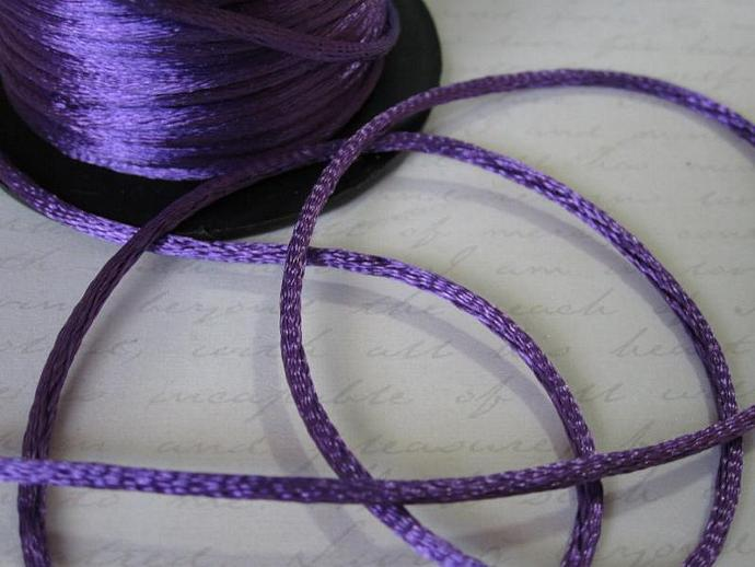 3yds - Royal Purple String Satin Ribbon