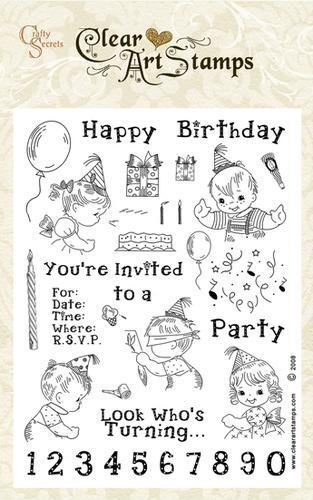 Birthday Kids Large Clear Art Stamp Set