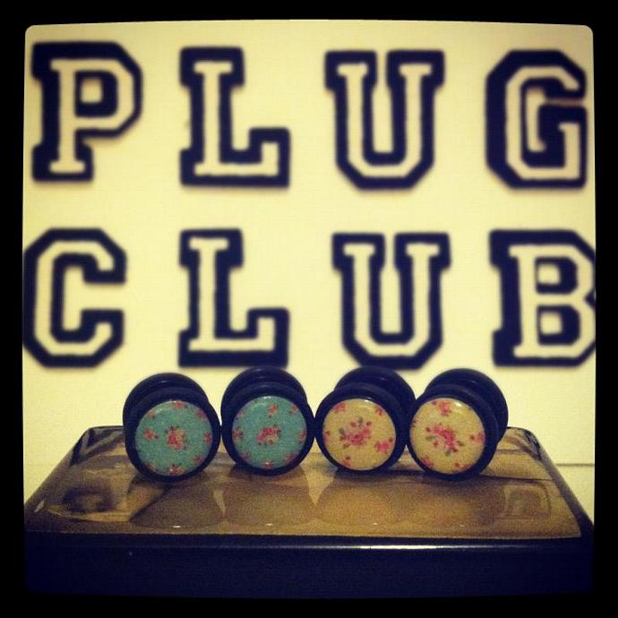 Vintage Floral Fake Plugs in Yellow and Blue by Plug-Club Plugs 2 PAIRS for less