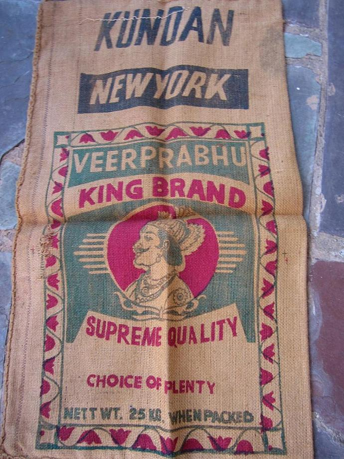 Vintage Sugar Flour Sack grain burlap King Brand red graphics
