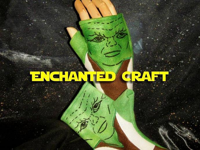 Fleece YODA Fingerless Gloves perfect for Star Wars fans