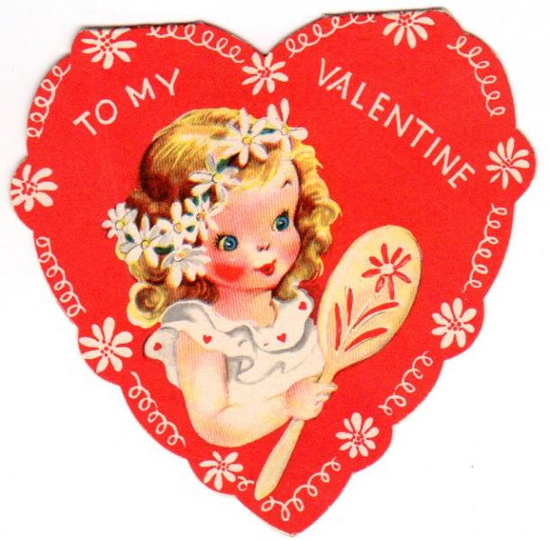Vintage Valentine Card Heart Shaped By