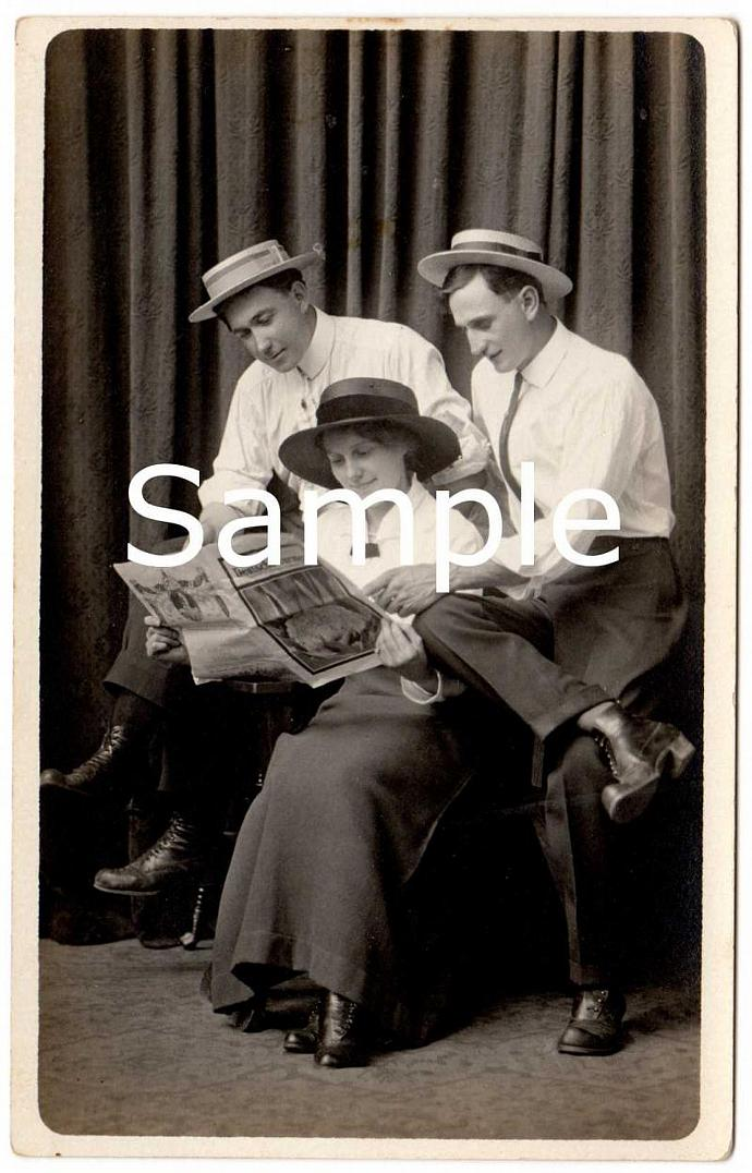 Digital Scan Antique Real Photo Postcard Men and Woman Reading German Newspaper