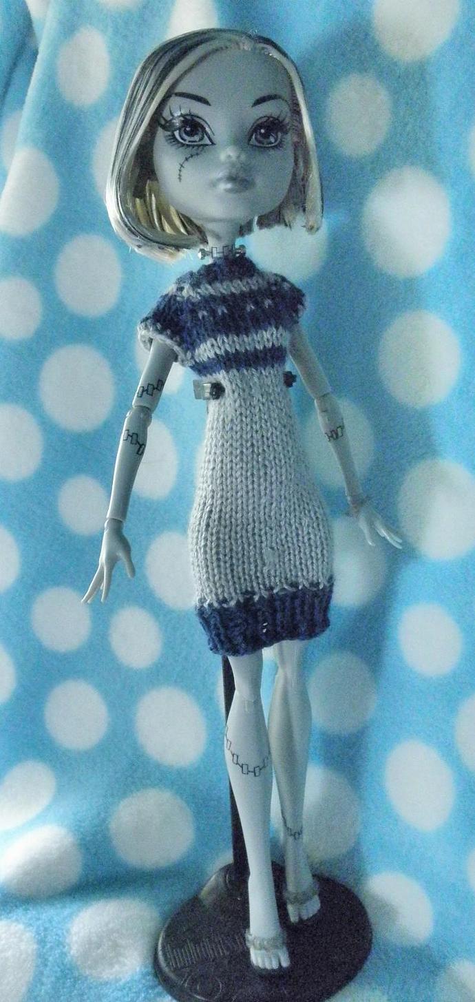 Grey & Blue hand knit silk wool dress for Monster High