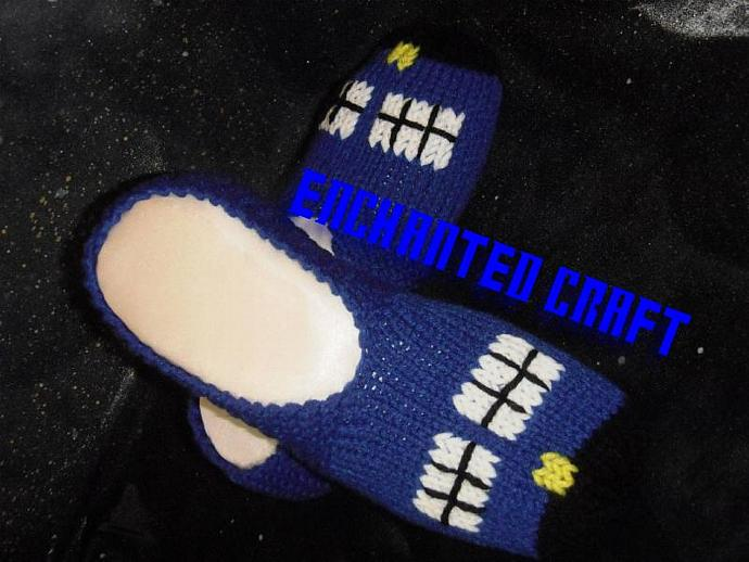 Knitted TarDIS Slippers inspired by Dr Who