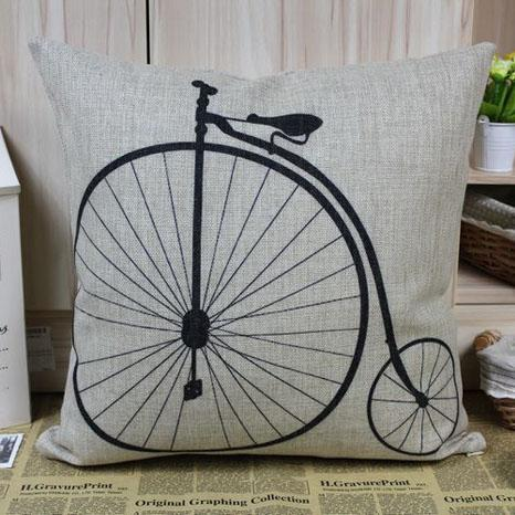 Penny Farthing Black Bicycle Linen Seat Cushion Covers