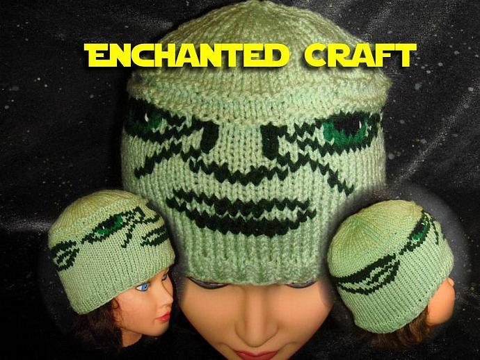 Hand Knitted YODA Hat fun for STar WArs FAN