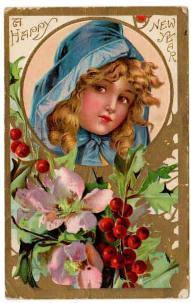 Antique Postcard 1910s New Year Greeting Pretty Girl in Blue