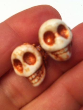 Day of the Dead Rockabilly Post Skull Earrings