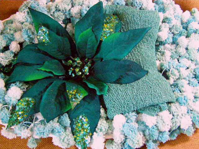 Newborn Christmas Photography Prop Set Poinsettia Flower Clip, Posing Boa and