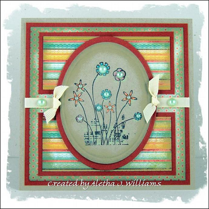Happy Flowers Handmade OOAK Greeting Card