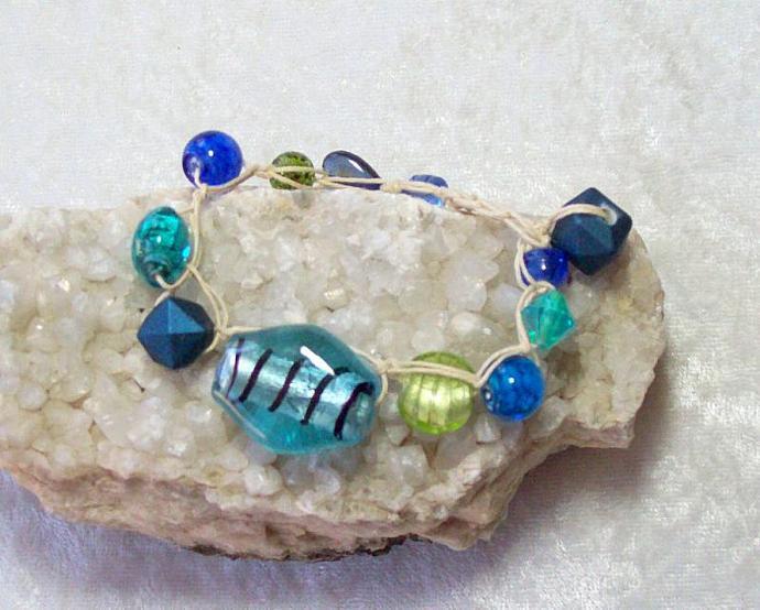 Chunky Blue Glass Bead Bracelet, crocheted on hemp cord