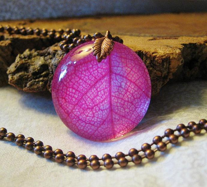 Hot Pink Skeleton Leaf Under Glass Necklace