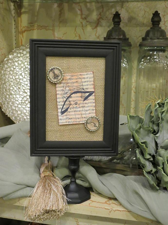 double sided pedestal frame wburlap