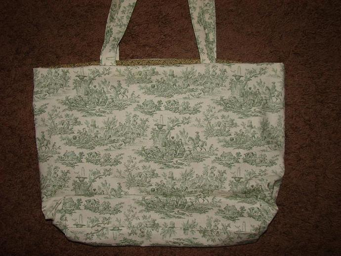 Extra Large Green Toile Print Tote fully lined with 2 interior pockets
