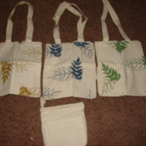 Natural Fiber Grocery totes with Carrying case- Set of 3 Reusable