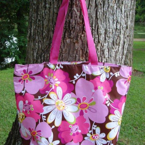 Extra Large Pocket Full of Posies Retro tote Brown with Pink