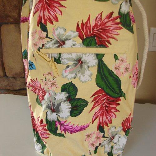 Extra Large Light Yellow/White Hibiscus Duffel Bag with Drawstring ......