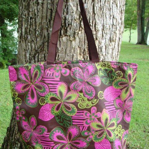 Extra Large Pocket Jungle Posies Retro tote Brown with Pink
