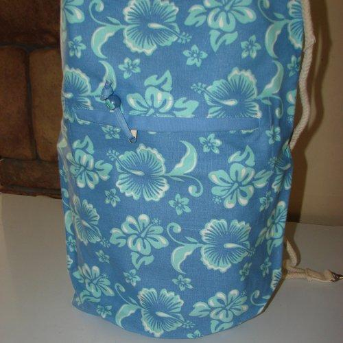 Extra Large Blue Hibiscus Duffel Bag with Drawstring closure