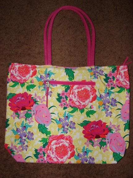 Canvas Beach Tote with interior organizer pockets YELLOW Extra Large
