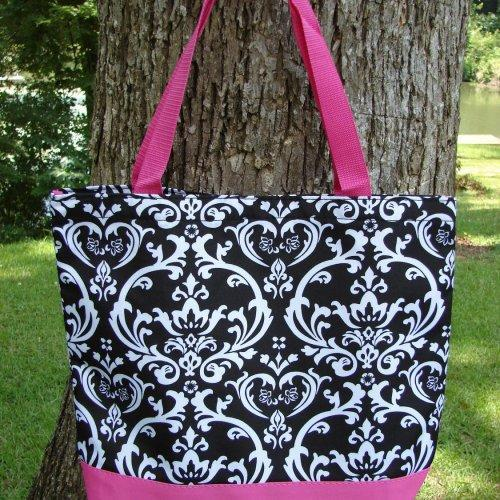 Extra Large Black and White DAMASK with Pink trim tote fully lined ......