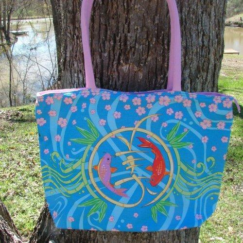 Large Koi Tote with interior organizer pocket