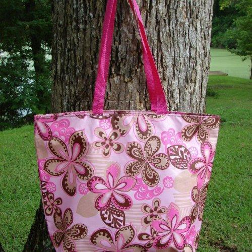 Extra Large Pocket Full of Posies Retro tote Pink with Pink
