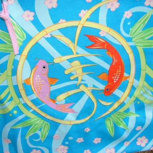 Beach Tote with interior organizer pocket KOI Extra Large Canvas