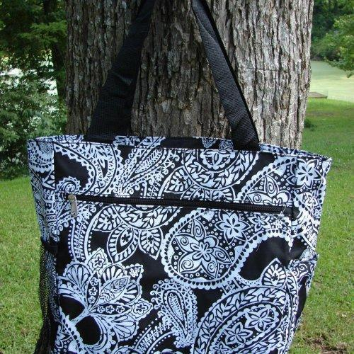 Extra Large Black and White Paisley Tote bag fully lined with 3 ext......