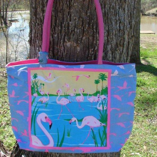Large Pink Flamingo Tote with interior organizer pocket