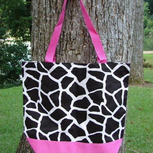 Extra Large Black and White Cow Print with Pink trim tote fully lin......