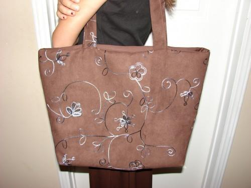 Brown Suede Extra Large  fully lined Embroidered Tote Bag
